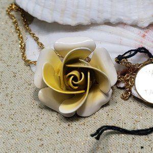 """Vintage yellow enamel metal rose pendant 16"""""""